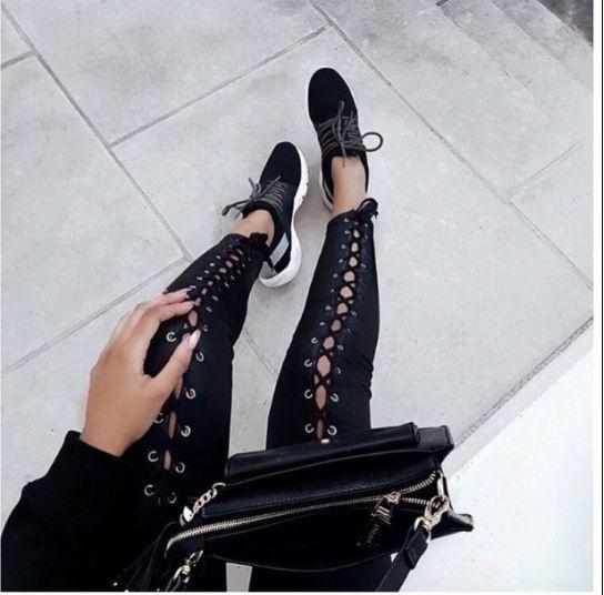 Black lace up Pants by Reverse
