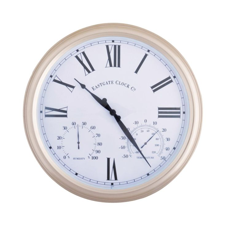 Never guess at the time or temperature on the patio or pool deck again. With an included thermometer for temperature and hygrometer to measure humidity, the James Outdoor Wall Clock is a lovely gift to...  Find the James Outdoor Wall Clock, as seen in the Modern Outdoor Lounge Collection at http://dotandbo.com/collections/modern-outdoor-lounge?utm_source=pinterest&utm_medium=organic&db_sku=110157