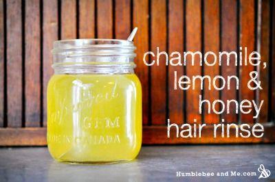 Homemade Honey, Lemon, and Chamomile Hair Rinse Recipe ... Quick Link to post: http://herbsandoilshub.com/homemade-honey-lemon-and-chamomile-hair-rinse-recipe/