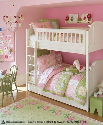 Would love bunk beds in an alcove with curtains to pull over for privacy!! pink & green little girls' room