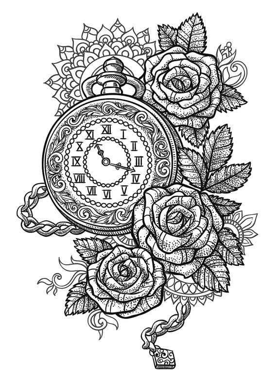 Sets Pocket Watch, Roses and Mandala temporary tattoos