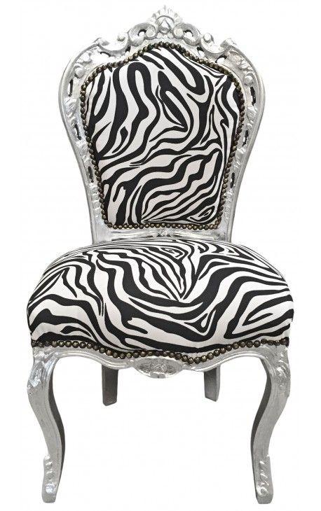 Chaise de style Baroque Rococo tissu zebre et bois argenté
