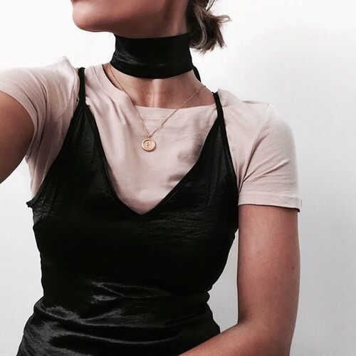 Slip dress over te. Choker