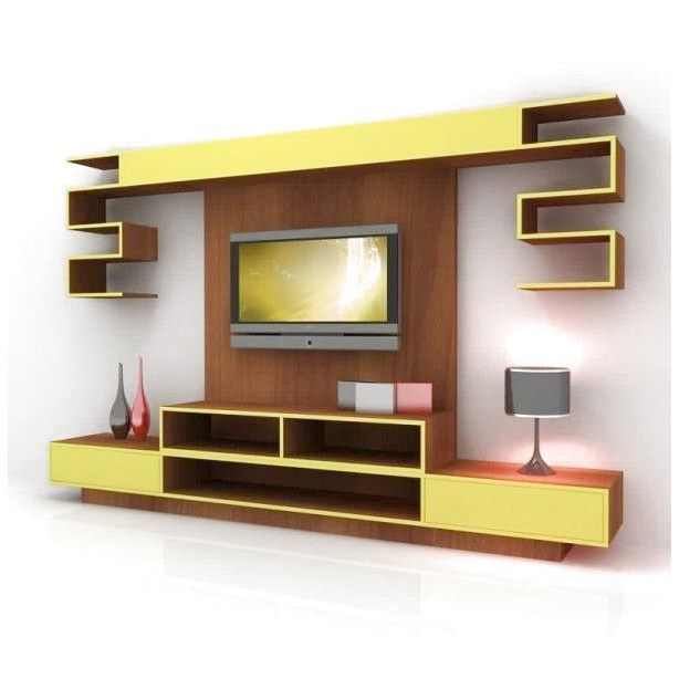 Living Room Living Room Furniture Varnish Wooden And Yellow Wooden Led Tv Wall Cabinet Ornament And Wall Unit Designs Living Room Tv Wall Modern Tv Wall Units #ornament #for #living #room