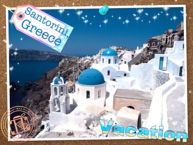 【H.I.S.】死ぬまでに行きたい世界の絶景Vol.2  ハネムーナーにも人気のエーゲ海に浮かぶ島。断崖の上に青いドームの教会と白壁の家々が建ち並び、まるで絵葉書のような風景です。