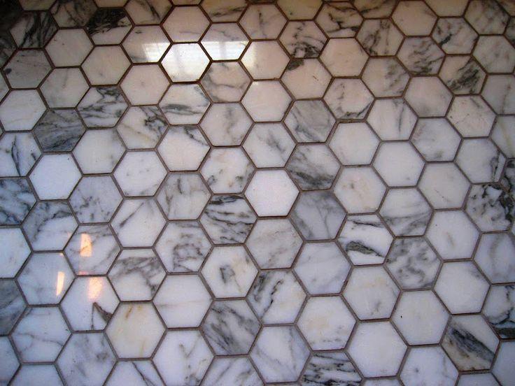 Marble Hexagonal Tile With Dark Grout Bathroom Flooring