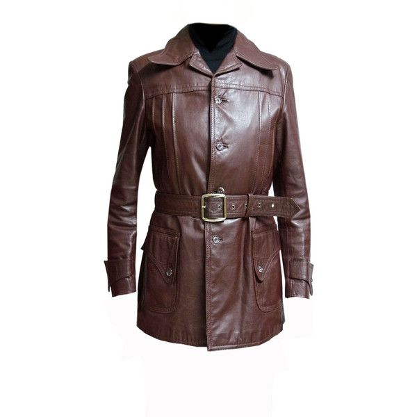 Vintage leather trench coat 70s men red brown THOMPSON WILLIAMS L belt... (€190) ❤ liked on Polyvore featuring men's fashion, men's clothing, men's outerwear, men's jackets, mens slim fit outerwear, mens slim jacket, mens red leather jacket, mens jackets and mens brown jacket