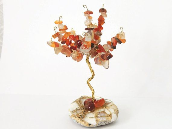 Carnelian wire tree, July birthstone, family tree, tree of life, grandmother gift, wire wrap tree, new mom gift, wedding favor, crystal tree