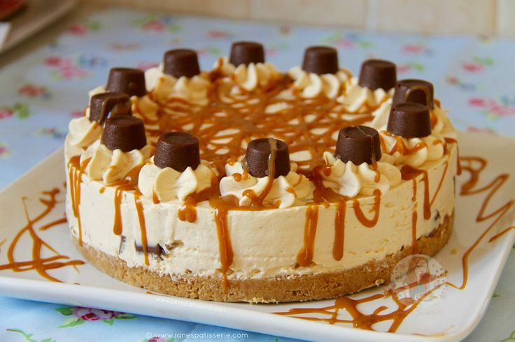 Caramel creamy cheesecake filling on top of a delicious buttery biscuit base drizzled with an extra bit of caramel and packed full of Rolo's