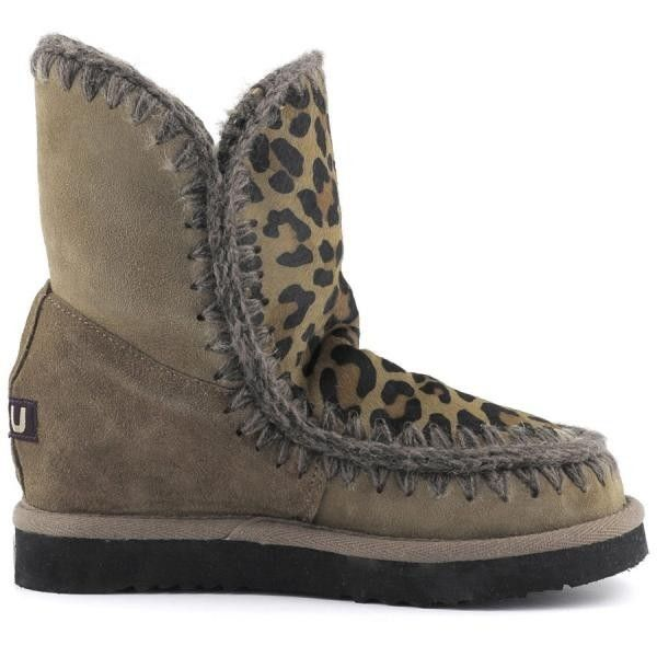 MOU Eskimo Wedge Short Boots Dark Stone/Front Leopard Dark Stone - MOU
