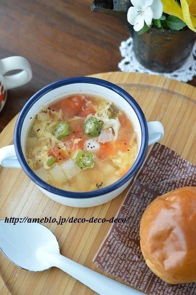 簡単5分!栄養たっぷり!「トマトとオクラと長芋のふんわり卵スープ ...