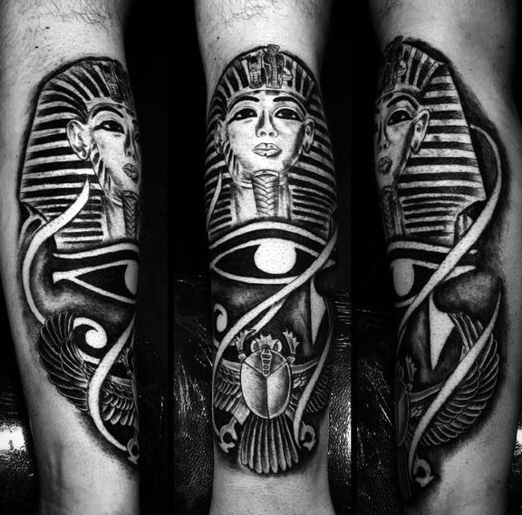 Eye Of Ra With Bettle And King Tut Mens Egyptian Themed Shin Tattoos