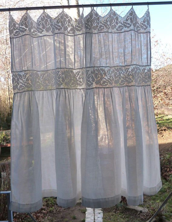 Antique French Crocheted Lace Muslin Curtains Drapes Handmade Window Curtain Drapery Panels Hand W Roses Home Decor