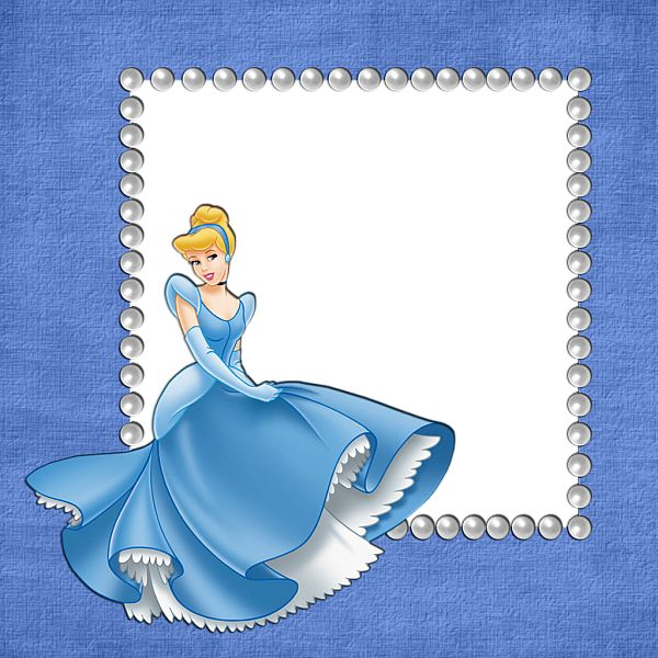 Blue Girls Transparent Frame with Cinderella