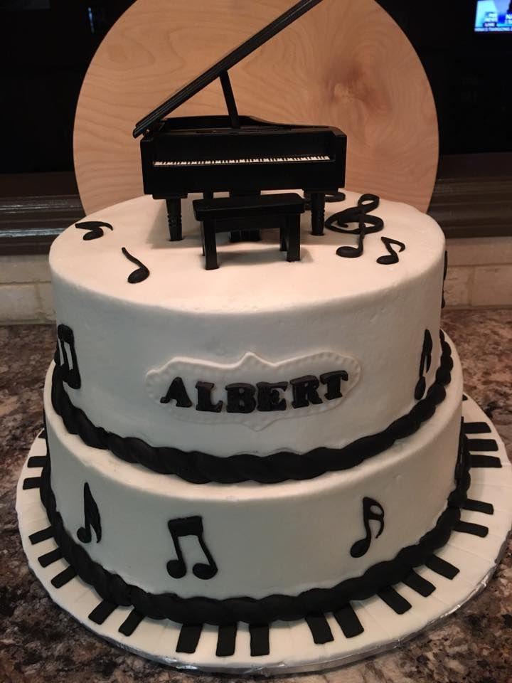 Musical themed cake I made. Piano came from Hobby Lobby ...