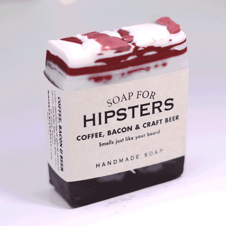 Soap for Hipsters - BEST SELLER! by Whiskey River Soap Co.   ''Smells just like your beard.  Ah, hipsters. An almost completely passé concept at this point. But if we made a normcore soap, would it have to dress like Jerry Seinfeld? We swore off mom jeans back in the 80s. Soap for Hipsters is not for the hipster poser, btw. The rich scents of coffee, bacon and craft beer will waft from the bubbly lather and make you ... well, hungry is our guess.''