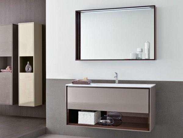 Furniture,Luxury Wall Mounted Bathroom Mirror With Modern Rectangle White Wood Countertop Bathroom Sink With Grey Bathroom Vanity And Dark Brown Shelf Also Classy Dark Grey Wood Floor,Best Quality Wall Mounted Bathroom Mirror