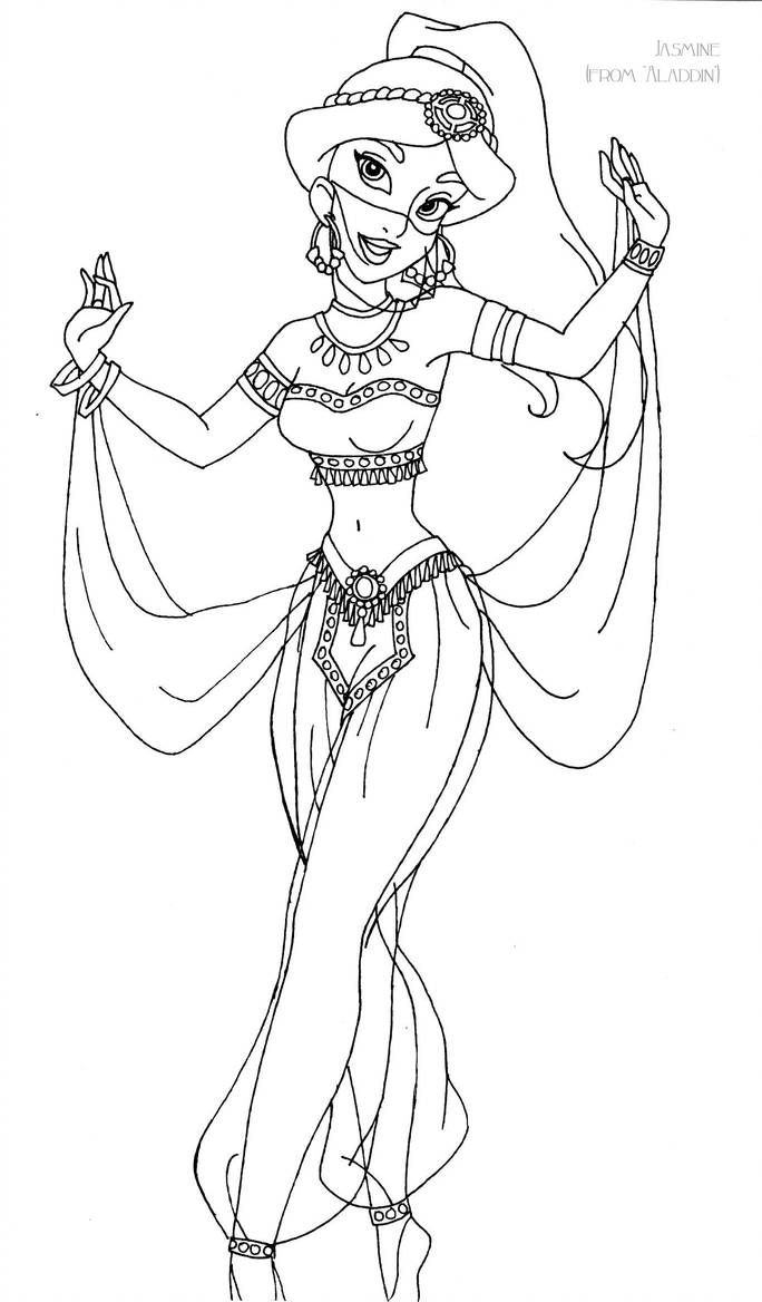 Jasmine deluxe gown lineart by LadyAmber  Disney coloring pages