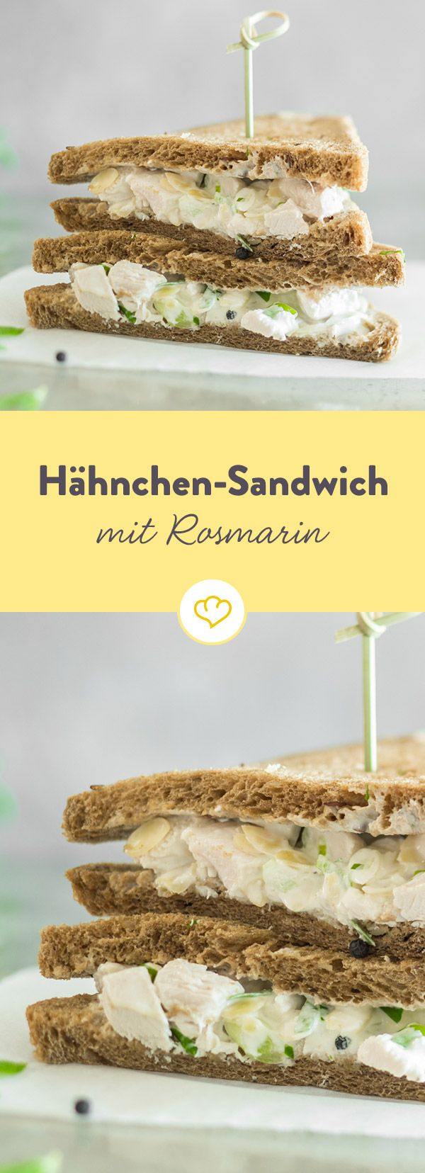 Dieses Hähnchen-Sandwich wird dank Rosmarin und geräucherter Mandeln zum ganz besonderen Sattmacher für lange Bürotage.