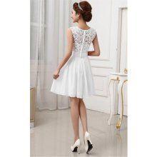 Plesové šaty krátké s krajkou bílé