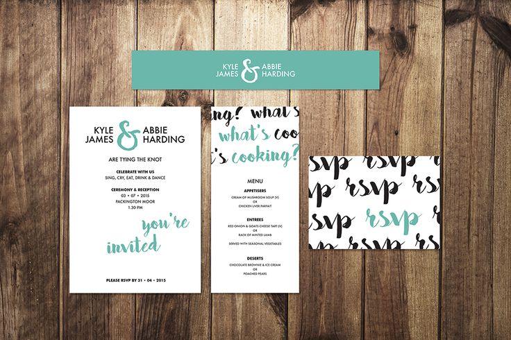 Typographic Print Wedding Stationery Set by I Do Invites by Sally