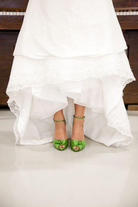 Bright Green Satin Bridal Shoes