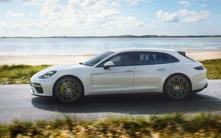 Download wallpapers 4k, Porsche Panamera Turbo S E-Hybrid Sport Turismo, 2018 cars, Porsche Panamera, german cars, Porsche