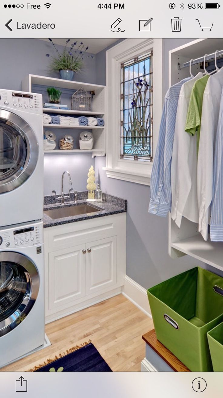 contemporary small laundry room with sink stacked