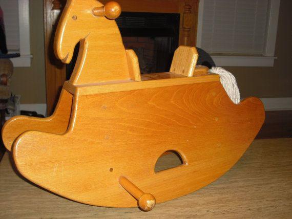 Childs wooden rocking horse by WalltoWallWoodworks on Etsy
