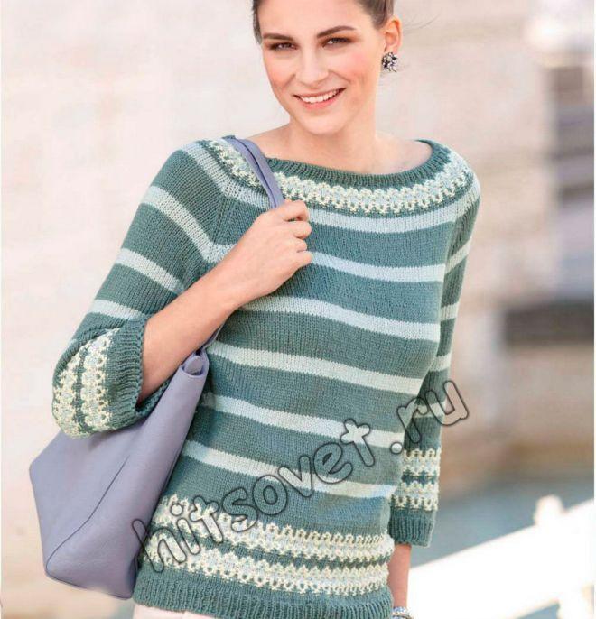 Пуловер реглан без швов - Хитсовет Пуловер реглан без швов. Модная модель женского полосатого пуловера реглан с жаккардовым узором, связанного снизу вверх по кругу без швов со схемой и бесплатным описанием вязания.