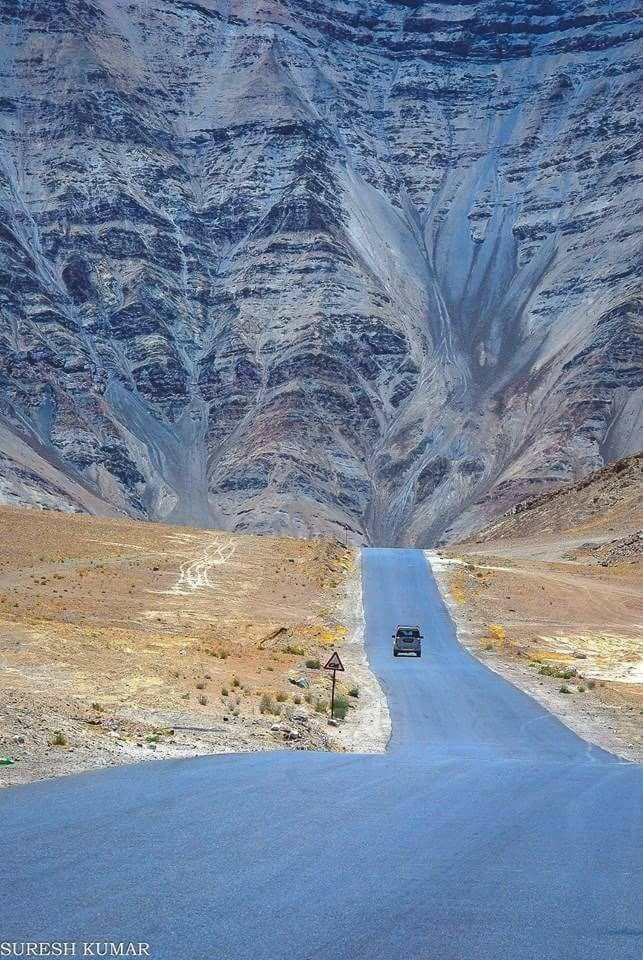 Magnetic hill , Leh ,Ladakh , India.