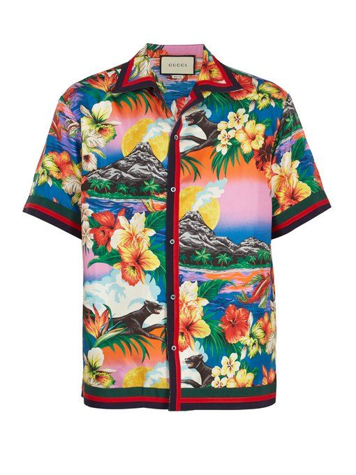 447facc42 Gucci Tropical-print cotton-blend bowling shirt | life style in 2019 ...