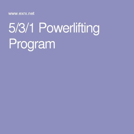 5/3/1 Powerlifting Program