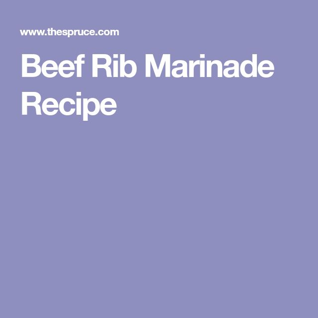 Beef Rib Marinade Recipe