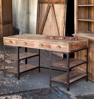 Gershwin's Vintage Style Railroad Iron Pine Desk