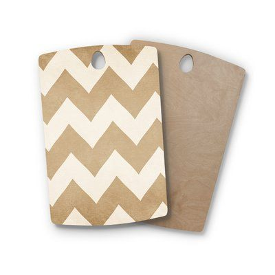 East Urban Home Catherine McDonald Birchwood Chevron Cutting Board Color: Biscotti/Cream