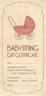 Babysitting gift certificates and a young on pinterest for Babysitting gift certificate template