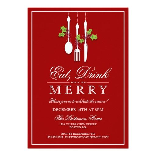 149 best christmas invitations images on pinterest christmas cards eat drink be merry christmas holiday party 5x7 paper invitation card stopboris Image collections