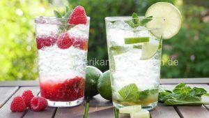 Rezept: Virgin Mojito I Classic und Himbeere I Mojito Mocktail I Alkoholfrei  Zutaten: Limetten Rohrzucker Mineralwasser (Eiskalt) Crushed Eis Frische Minze Frische Himbeeren (Für die Himbeer- Variant