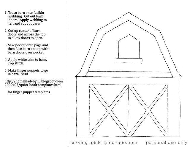Serving Pink Lemonade: Quiet Book Templates - felt barn
