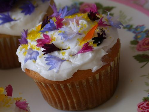 Image result for edible flowers cupcake
