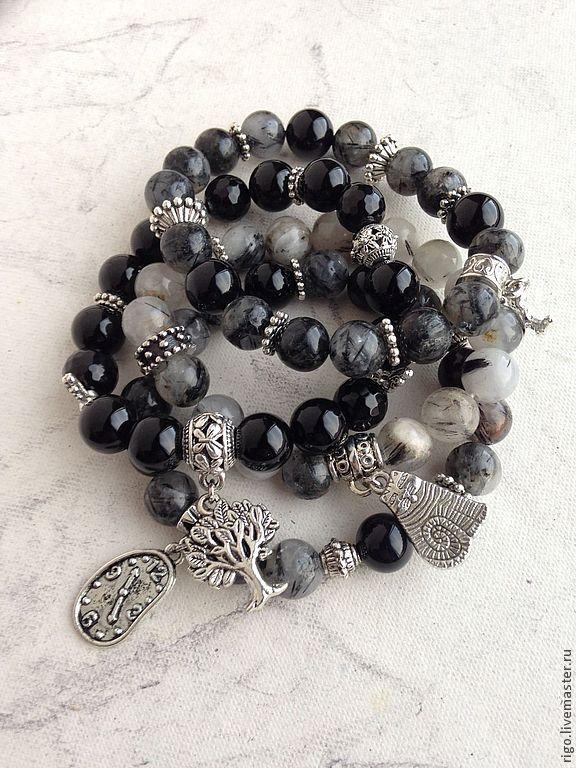 Купить Браслеты из натуральных камней - чёрно-белый, браслет с подвесками, браслет из камней, браслеты на резинке