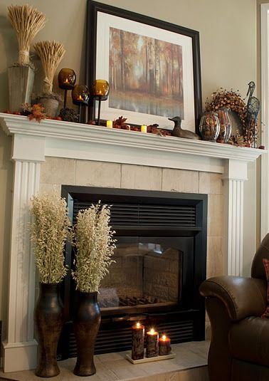 Beautiful mantel arrangement for fall