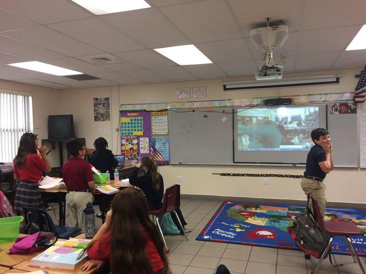 Renee Sarmiento @reneesarmiento5 #SkypeaThon Fifth graders at St. Andrew Catholic School in Coral Springs, FL traveled 1,215.7 miles for the SkypeaThon today!