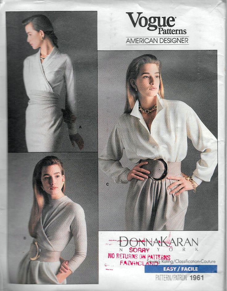 "Vintage 1987 Vogue 1961 Donna Karan New York Top & Bodysuit Sewing Pattern Size 6-8-10 Bust 30 1/2""-31 1/2"" - 32 1/2"" by Recycledelic1 on Etsy"