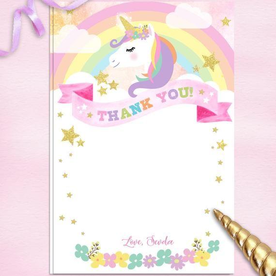 Unicorn Thank You Cards Unicorn Party Decorations Unicorn Stationary Rainbow Party Unicorn Card Unicorn Birthday Cards Unicorn Invitations Unicorn Card