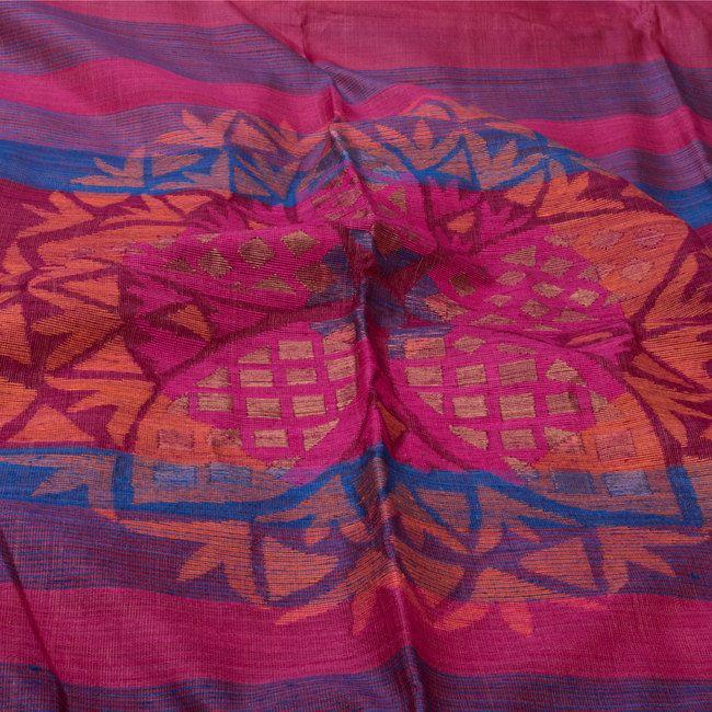 Karomi Handwoven Lotus Circle Jamdani Silk Sari 10000469 - closeup - AVISHYA.COM