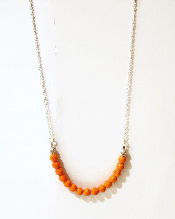 Turquoise orange necklace simple Turquoise long by AellaJewelry, $18.00 #turquoise #orange #necklace