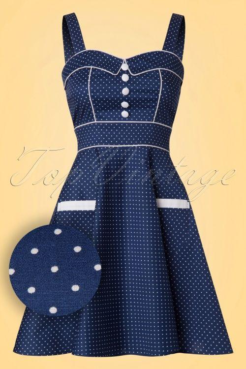 Hell Bunny Vanity Navy Mini Dress white polkadots jurk donker blauw met witte stippen 1950s vintage style