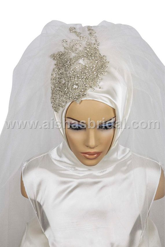 Ready To Wear Bridal Hijab  Code HGT0373 by HAZIRTURBAN on Etsy, $107.00